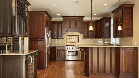 Custom Kitchen with Granite Countertops and Stainless Steel Appliances in Clark, New Jersey by Daunno Development.